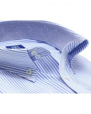 ブルー系 ワイシャツ 半袖 形態安定 ドゥエボットーニ ボタンダウン 白×サックスストライプ 新体型を見る