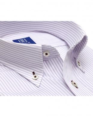 パープル系 ワイシャツ 半袖 形態安定 ボタンダウン 白×パープルストライプ 新体型を見る