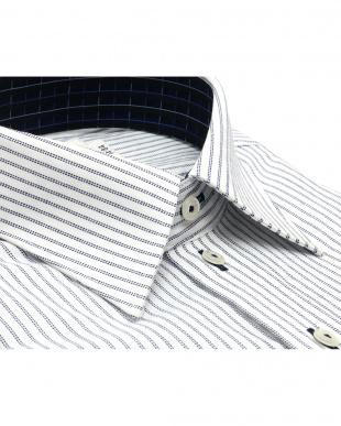 ブルー系 ワイシャツ 長袖 形態安定 レギュラー 白×ネイビーストライプ スリムを見る