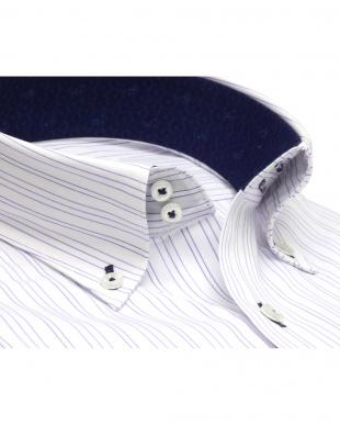 パープル系 ワイシャツ 長袖 形態安定 ドゥエボットーニ ボタンダウン 白×パープルストライプ スリムを見る