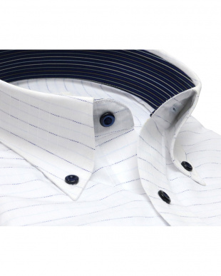 ブルー系 ワイシャツ 長袖 形態安定 ボタンダウン 白×サックス・ブルーボーダーストライプ、ストライプ織柄 スリムを見る