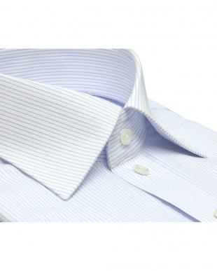 ブルー系 ワイシャツ 長袖 形態安定 ワイド 白×サックスストライプ スリムを見る