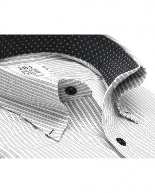 グレー系 ワイシャツ 長袖 形態安定 スナップダウン ストレッチ 白×グレー、黒ストライプ スリムを見る