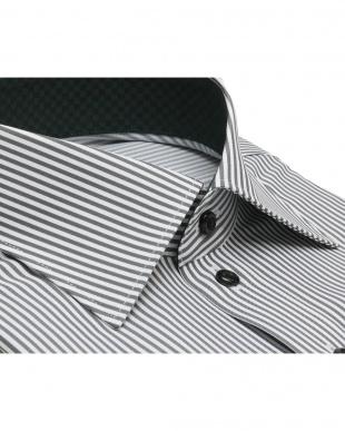グレー系 ワイシャツ 長袖 形態安定 ワイド 白×グレーストライプ スリムを見る