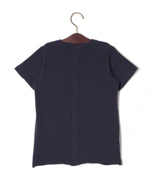 ネイビー ストレッチ プリント クルーネック 半袖Tシャツを見る