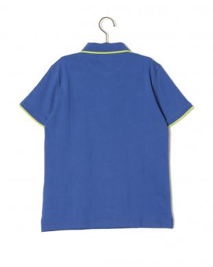 ブルー 配色トリム 半袖ポロシャツを見る