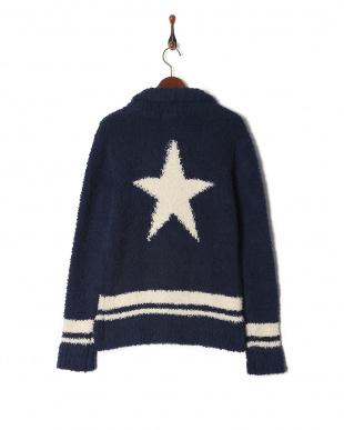 navy fluffy shawl collar sweaterを見る