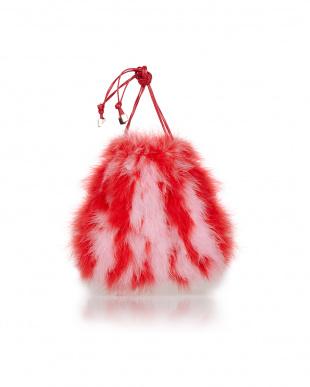 ピンク フェザー巾着バッグ(赤×ピンク)を見る