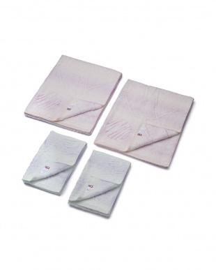 今治産ロングパイルバスタオル(水玉) ピンク2枚、フェイスタオル(水玉)ブルー2枚を見る