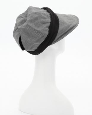 グレー 小顔に見える涼感UVカットクロッシェ帽子を見る