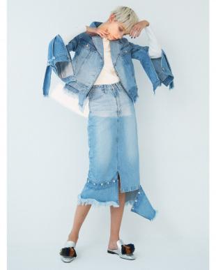 アイスブルー ユーティリティーデニムスカート UN3D.を見る