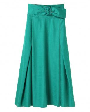 グリーン リネンライクベルテッドスカート UN3D.を見る
