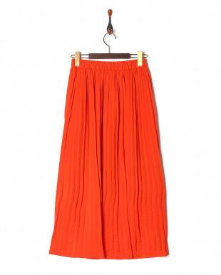 オレンジ サテンギャザースカートを見る