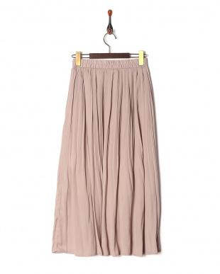 ベージュ サテンギャザースカートを見る