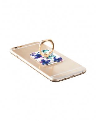 WHITE VIVID FLOWER BL スマートフォン専用リングを見る
