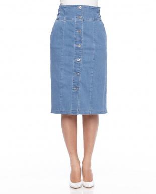 ブルー ◎フロントボタンIラインスカートを見る