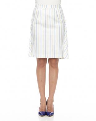 90/無彩色A(ホワイト) ストライプドレープスカートを見る