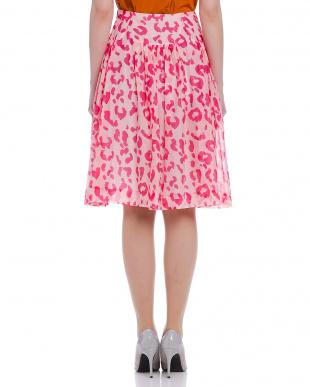 ピンク レオパードプリント ギャザー フレアスカートを見る