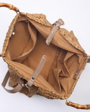 Beige ペーパー素材バンブーハンドルバッグを見る