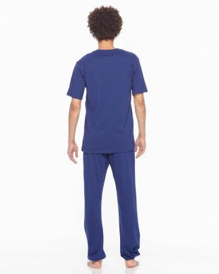 ネービーブルー Championルームウェア天竺半袖長パンツを見る