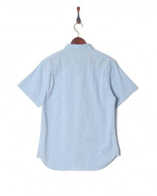 サックス 綿麻ストレッチ半袖シャツを見る