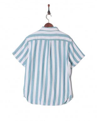 シロ*グリーン パナマストライプシャツを見る