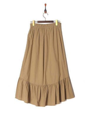 ベージュ 裾フリルフレアースカートを見る