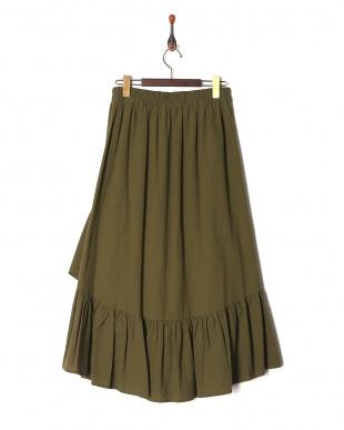 カーキ 裾フリルフレアースカートを見る