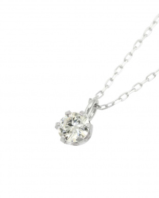 Pt900/Pt850 天然ダイヤモンド 0.1ct VVSクラス 6本爪ネックレスあずき40cm 鑑定書付を見る