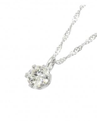 Pt999/Pt850 純プラチナ枠 天然ダイヤモンド 0.1ct 6本爪ネックレス スクリュー42cmを見る
