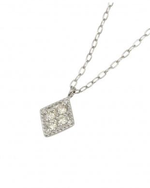 Pt900/Pt850 天然ダイヤモンド 4石 プラチナ ネックレス[長菱形]を見る