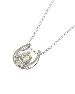 Pt900/Pt850 天然ダイヤモンド 0.2ct 馬蹄プラチナ ネックレスを見る
