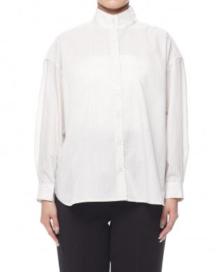ネイビーストライプ ストライプドロップシャルダーシャツを見る