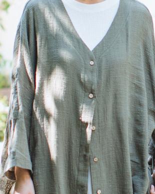 KHAKI [ママサイズ]シングルガーゼ シャツ ワンピースを見る