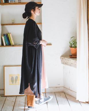 BLACK [ママサイズ]シングルガーゼ シャツ ワンピースを見る