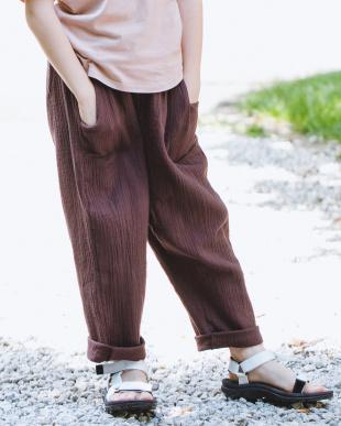 BROWN ダブルガーゼ リラックス パンツを見る