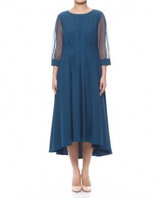 ターコイズブルー 袖ドットチュールロングドレスを見る