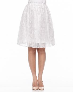 ホワイト [LODISPOTTO]レースプリーツスカートを見る