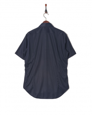 ネイビー ホリゾンタルカラー ショートスリーブ シャツを見る