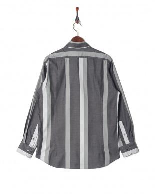 グレー デニム風 ワイドストライプ ホリゾンタルカラー 長袖シャツを見る
