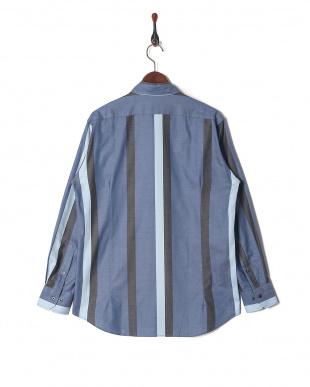ブルー デニム風 ワイドストライプ ホリゾンタルカラー 長袖シャツを見る