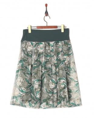 グリーン チュールレーススカートを見る