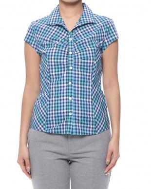 グリーンブルー  イタリアンギンガムチェックギャザー 半袖シャツを見る