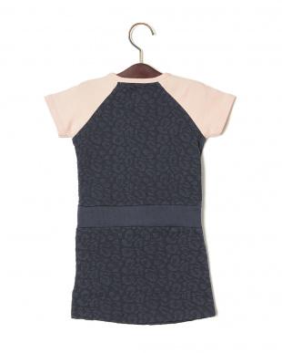 ダークネイビー×ピンク ストレッチ ジャカード切替 ドローコード 半袖ドレスを見る