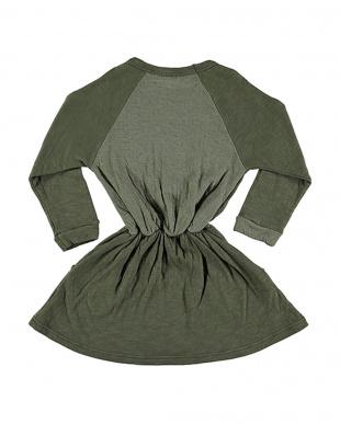 ロゴプリント ブラウジング ラグランスリーブ 長袖ドレスを見る