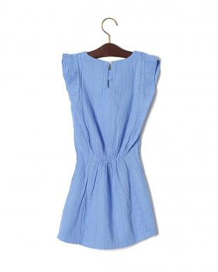 ブルー ラメストライプ ギャザー フリルスリーブ ドレスを見る