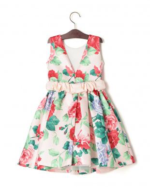 ピンク  LINUM リボンベルト付 プリント ノースリーブドレスを見る