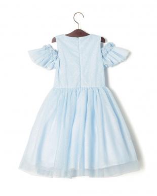 ライトブルー  CIELO FIORE チュール切替 フリル カットアウトショルダー ドレスを見る