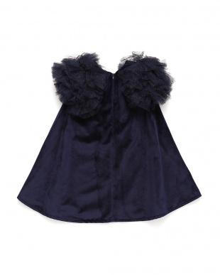 ネイビーブルー  MELBA BAMBINO ラメチュール ティアードスリーブ ドレスを見る