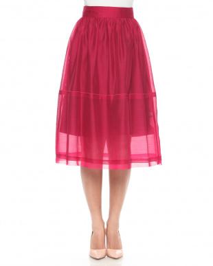 ピンク オーガンジーボリュームスカートを見る